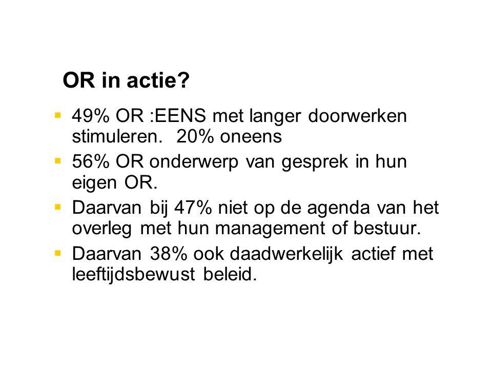OR in actie. 49% OR :EENS met langer doorwerken stimuleren.
