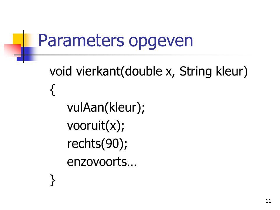 11 Parameters opgeven void vierkant(double x, String kleur) { vulAan(kleur); vooruit(x); rechts(90); enzovoorts… }