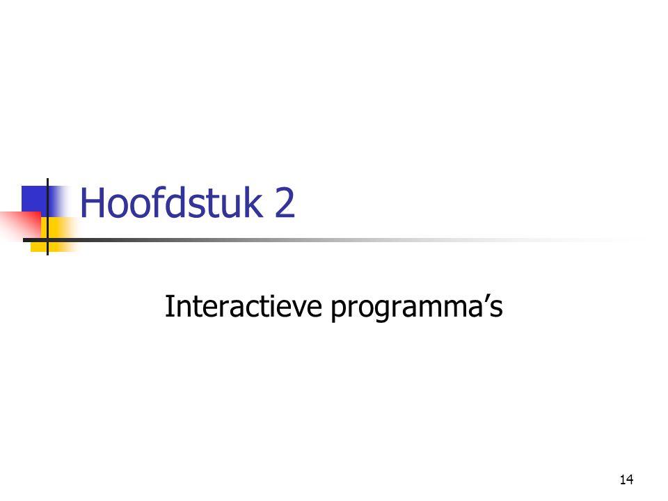 14 Hoofdstuk 2 Interactieve programma's