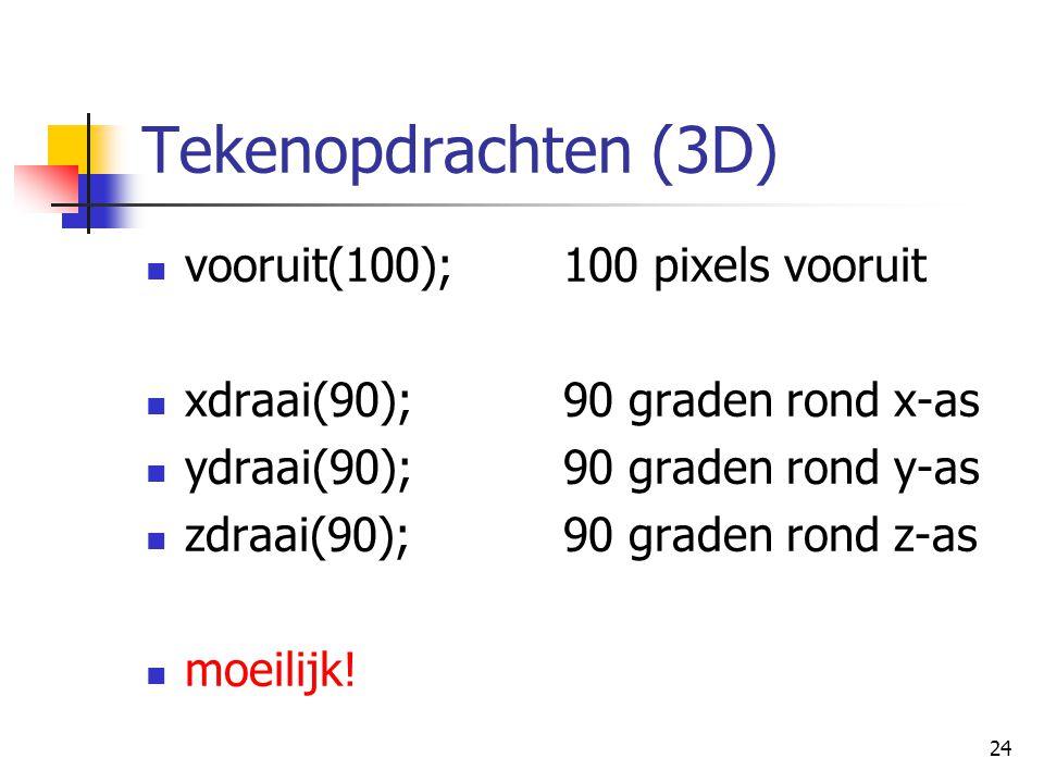 24 Tekenopdrachten (3D) vooruit(100);100 pixels vooruit xdraai(90);90 graden rond x-as ydraai(90);90 graden rond y-as zdraai(90);90 graden rond z-as moeilijk!