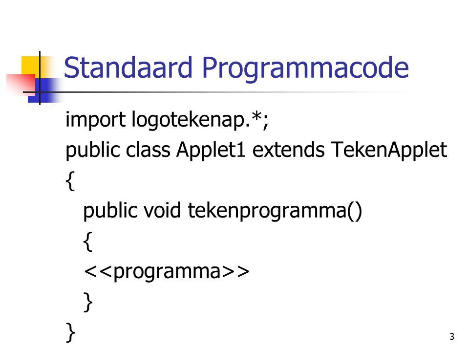 3 Standaard Programmacode import logotekenap.*; public class Applet1 extends TekenApplet { public void tekenprogramma() { > }