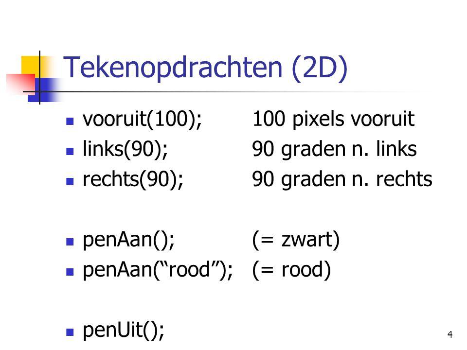 5 Stap-opdrachten (2D) stap(20,30); verplaats (met pen aan of uit) 20 pixels naar rechts 30 pixels naar boven