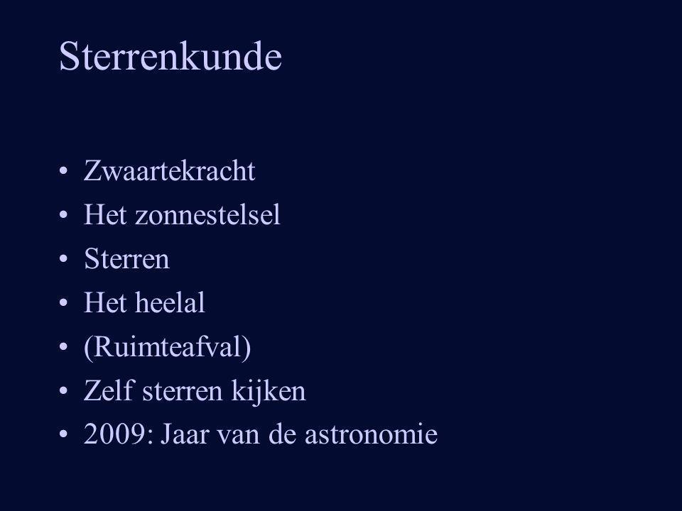 Sterrenkunde Zwaartekracht Het zonnestelsel Sterren Het heelal (Ruimteafval) Zelf sterren kijken 2009: Jaar van de astronomie