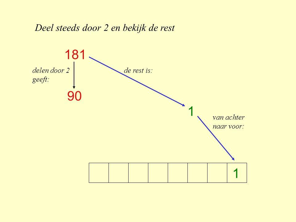 Deel steeds door 2 en bekijk de rest 1 181 90 1 delen door 2 geeft: de rest is: van achter naar voor: