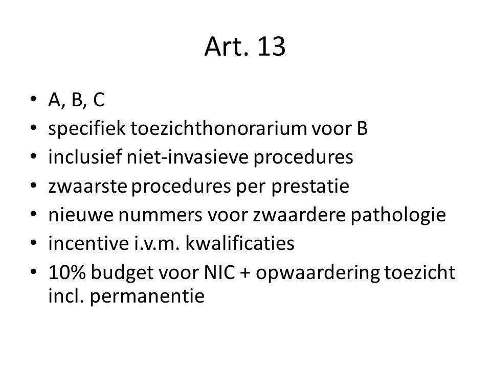 A, B, C specifiek toezichthonorarium voor B inclusief niet-invasieve procedures zwaarste procedures per prestatie nieuwe nummers voor zwaardere pathol