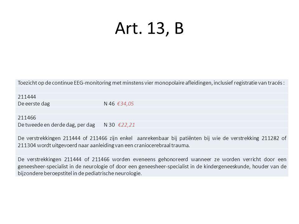 Toezicht op de continue EEG-monitoring met minstens vier monopolaire afleidingen, inclusief registratie van tracés : 211444 De eerste dagN 46 €34,05 2