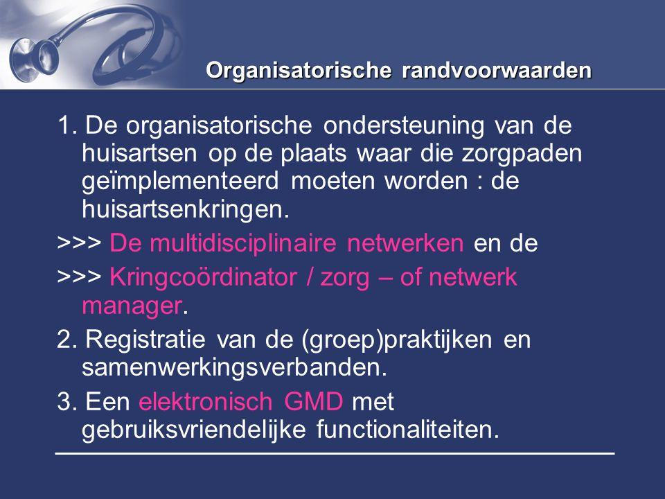 Organisatorische randvoorwaarden 1. De organisatorische ondersteuning van de huisartsen op de plaats waar die zorgpaden geïmplementeerd moeten worden