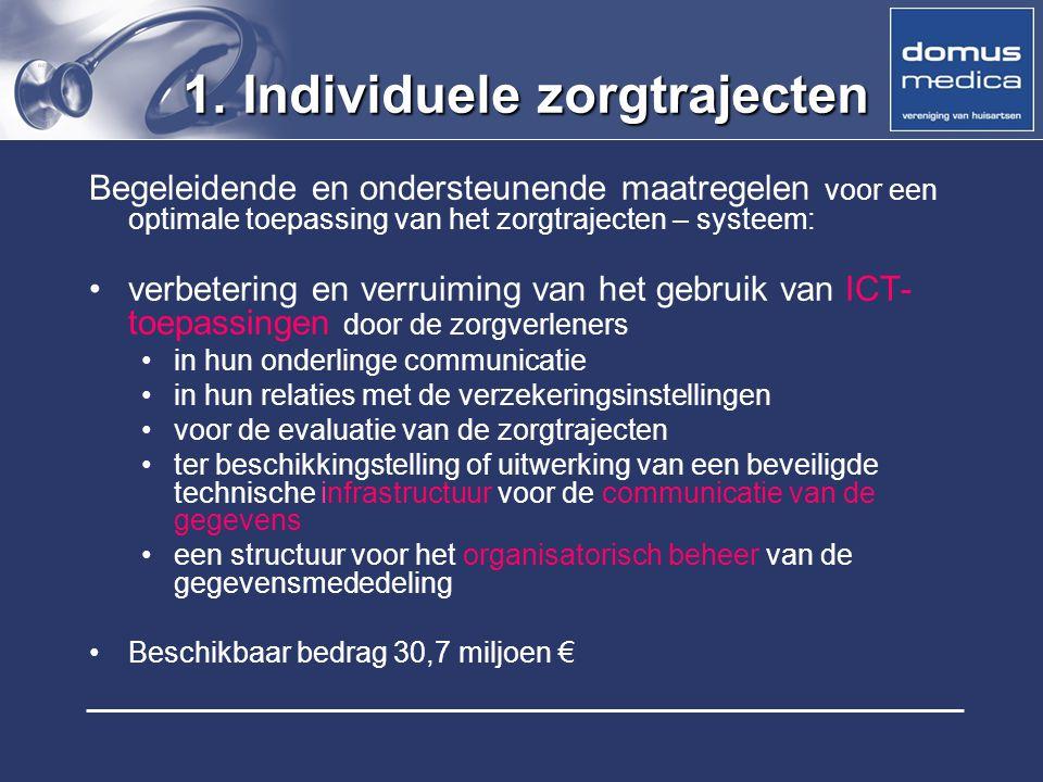 1. Individuele zorgtrajecten Begeleidende en ondersteunende maatregelen voor een optimale toepassing van het zorgtrajecten – systeem: verbetering en v