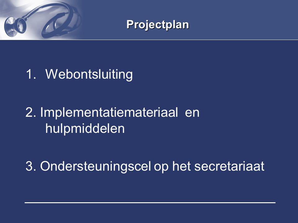 Projectplan 1.Webontsluiting 2. Implementatiemateriaal en hulpmiddelen 3. Ondersteuningscel op het secretariaat