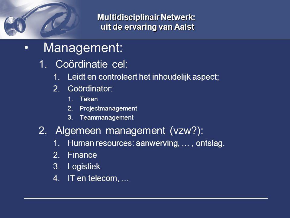 Multidisciplinair Netwerk: uit de ervaring van Aalst Management: 1.Coördinatie cel: 1.Leidt en controleert het inhoudelijk aspect; 2.Coördinator: 1.Ta