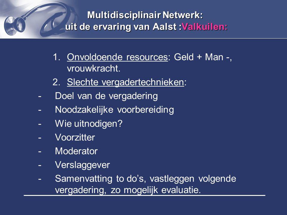 Multidisciplinair Netwerk: uit de ervaring van Aalst :Valkuilen: 1.Onvoldoende resources: Geld + Man -, vrouwkracht. 2.Slechte vergadertechnieken: -Do