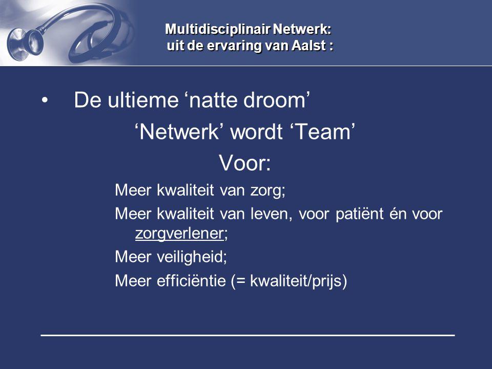 Multidisciplinair Netwerk: uit de ervaring van Aalst : De ultieme 'natte droom' 'Netwerk' wordt 'Team' Voor: Meer kwaliteit van zorg; Meer kwaliteit v