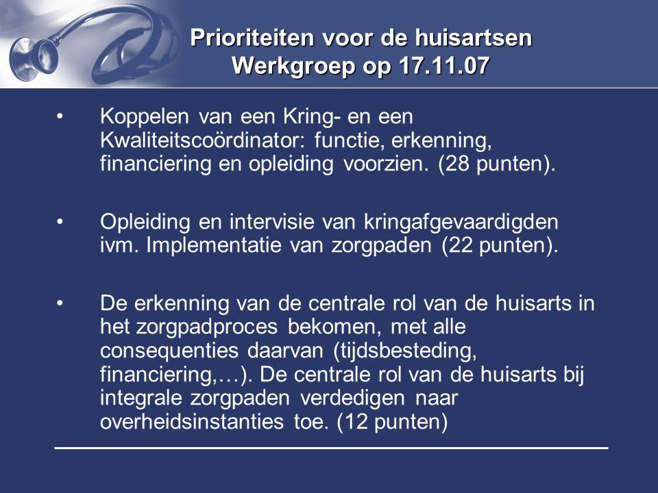 Prioriteiten voor de huisartsen Werkgroep op 17.11.07 Koppelen van een Kring- en een Kwaliteitscoördinator: functie, erkenning, financiering en opleid