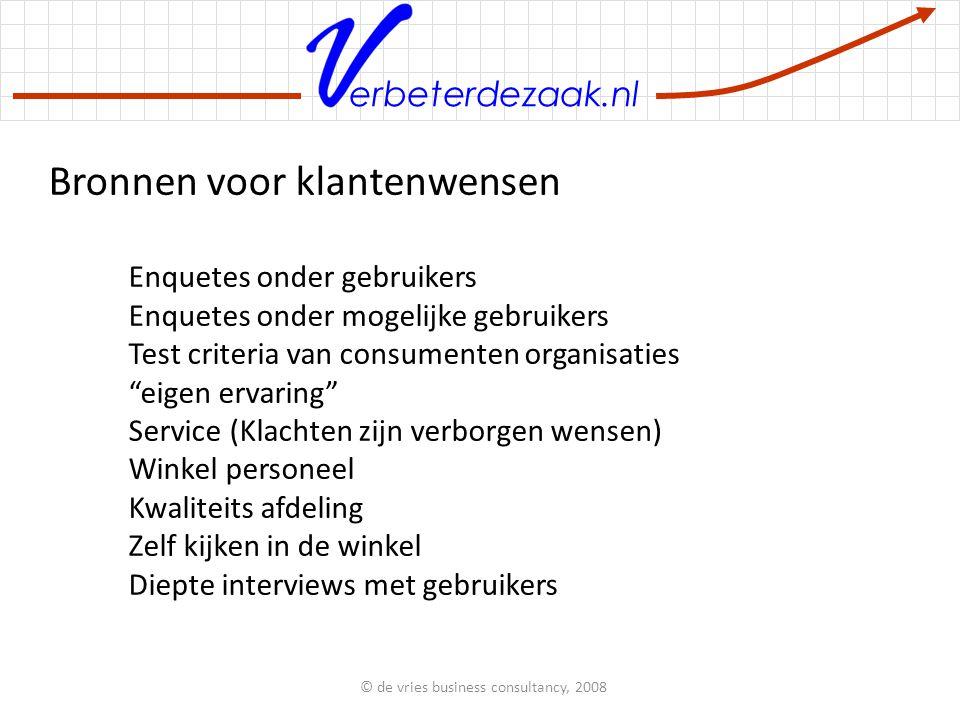 erbeterdezaak.nl Tijd nodig voor QFD Aantal wensen Tijd in dagen 0 1 2 3 4 10203040 © de vries business consultancy, 2008