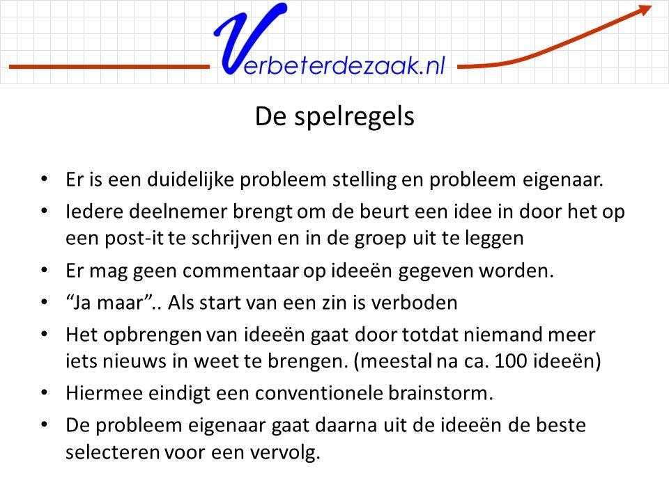 erbeterdezaak.nl Agenda 00.00 – 00.15 Introductie en kennismaking 00.15 – 00.20 Uitleggen spelregels brainstorm 00.20 – 00.30 Uitleg over het probleem *)waarvoor een oplossing gezocht wordt 00.30 – 02.00 Brainstorm 02.00 – 02.15 Afsluiting *)In geval van een nieuw product kan het best zijn dat hier meer tijd noodzakelijk is om bijvoorbeeld de resultaten van markt onderzoek met de groep te delen.