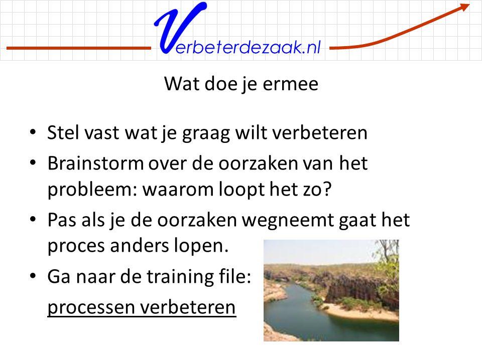 erbeterdezaak.nl Wat doe je ermee Stel vast wat je graag wilt verbeteren Brainstorm over de oorzaken van het probleem: waarom loopt het zo? Pas als je