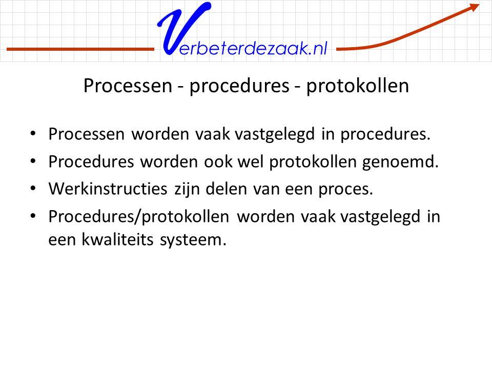 erbeterdezaak.nl Processen - procedures - protokollen Processen worden vaak vastgelegd in procedures. Procedures worden ook wel protokollen genoemd. W