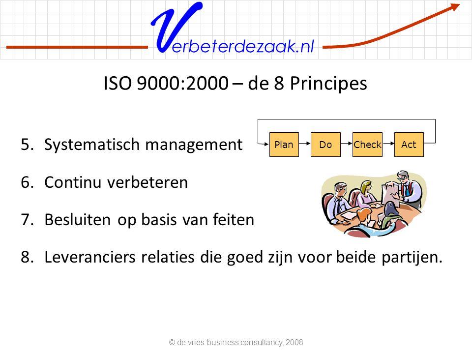 erbeterdezaak.nl ISO 9000:2000 – de 8 Principes 5.Systematisch management 6.Continu verbeteren 7.Besluiten op basis van feiten 8.Leveranciers relaties die goed zijn voor beide partijen.