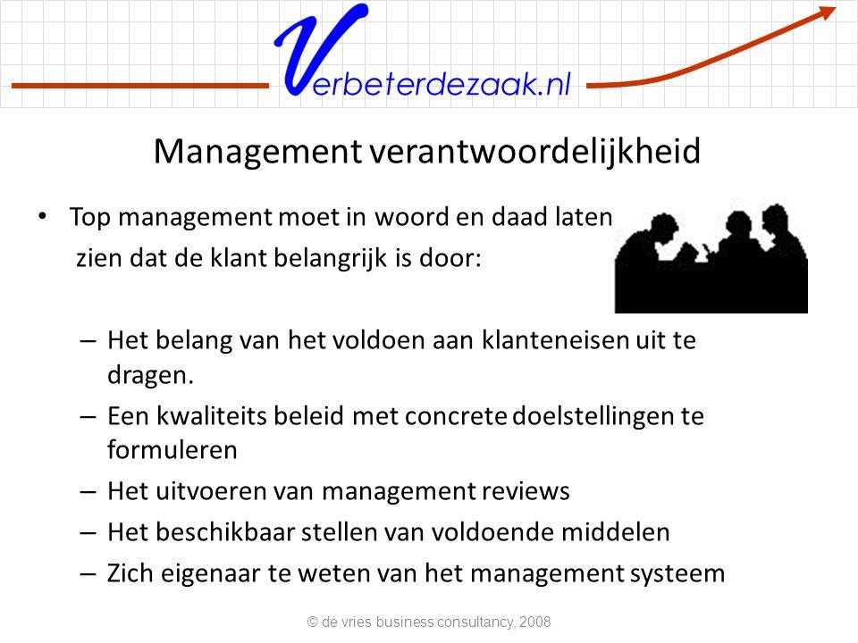erbeterdezaak.nl Management verantwoordelijkheid Top management moet in woord en daad laten zien dat de klant belangrijk is door: – Het belang van het voldoen aan klanteneisen uit te dragen.