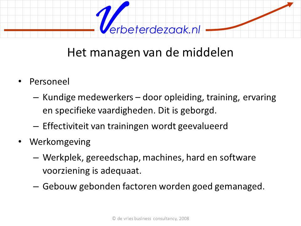 erbeterdezaak.nl Het managen van de middelen Personeel – Kundige medewerkers – door opleiding, training, ervaring en specifieke vaardigheden.