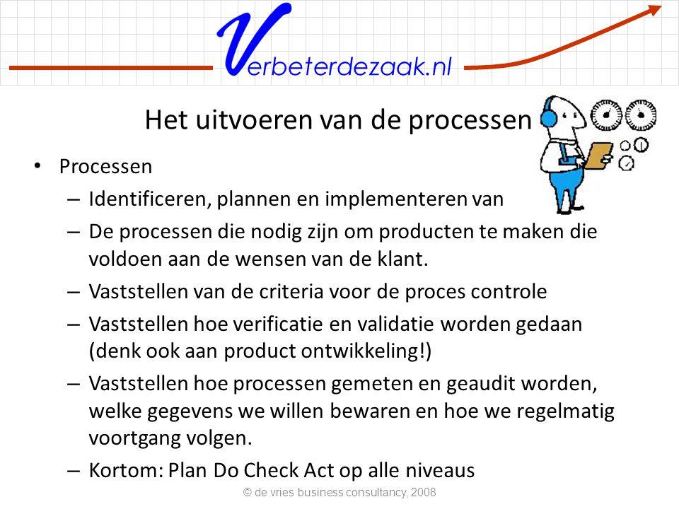 erbeterdezaak.nl Het uitvoeren van de processen Processen – Identificeren, plannen en implementeren van – De processen die nodig zijn om producten te maken die voldoen aan de wensen van de klant.