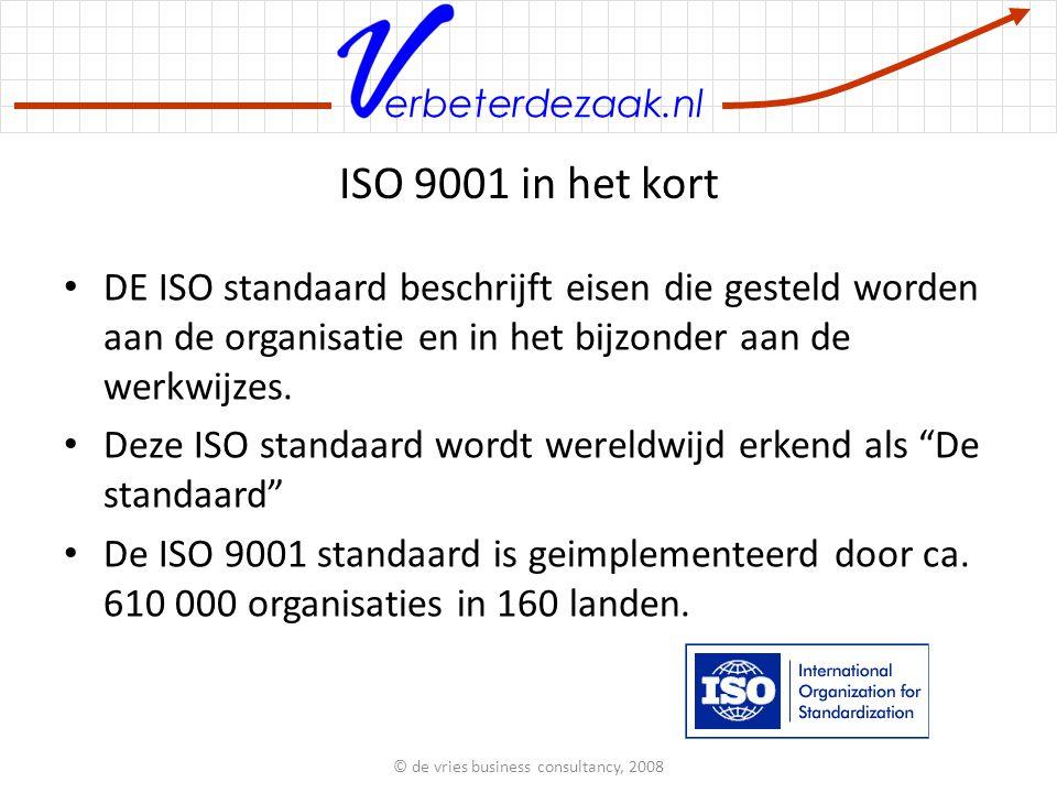 erbeterdezaak.nl ISO 9001 in het kort DE ISO standaard beschrijft eisen die gesteld worden aan de organisatie en in het bijzonder aan de werkwijzes.