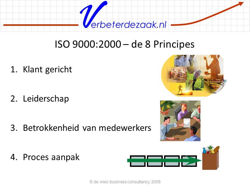 erbeterdezaak.nl ISO 9000:2000 – de 8 Principes 1.Klant gericht 2.Leiderschap 3.Betrokkenheid van medewerkers 4.Proces aanpak © de vries business consultancy, 2008