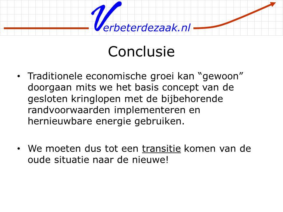"""erbeterdezaak.nl Conclusie Traditionele economische groei kan """"gewoon"""" doorgaan mits we het basis concept van de gesloten kringlopen met de bijbehoren"""