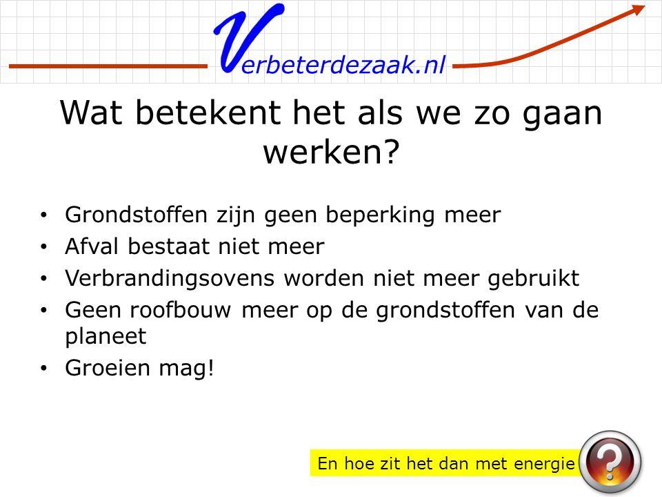 erbeterdezaak.nl Wat betekent het als we zo gaan werken? Grondstoffen zijn geen beperking meer Afval bestaat niet meer Verbrandingsovens worden niet m