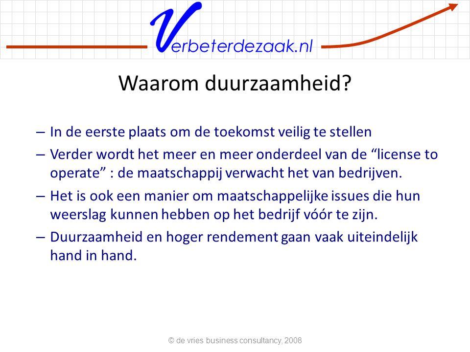 """erbeterdezaak.nl Waarom duurzaamheid? – In de eerste plaats om de toekomst veilig te stellen – Verder wordt het meer en meer onderdeel van de """"license"""