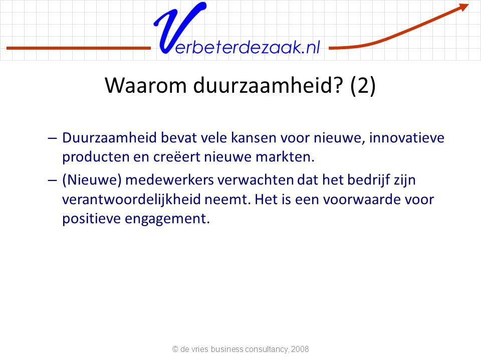 erbeterdezaak.nl Waarom duurzaamheid? (2) – Duurzaamheid bevat vele kansen voor nieuwe, innovatieve producten en creëert nieuwe markten. – (Nieuwe) me