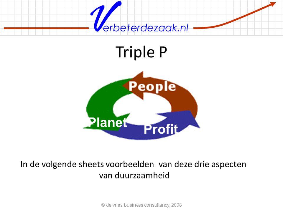erbeterdezaak.nl Triple P Planet Profit In de volgende sheets voorbeelden van deze drie aspecten van duurzaamheid © de vries business consultancy, 2008