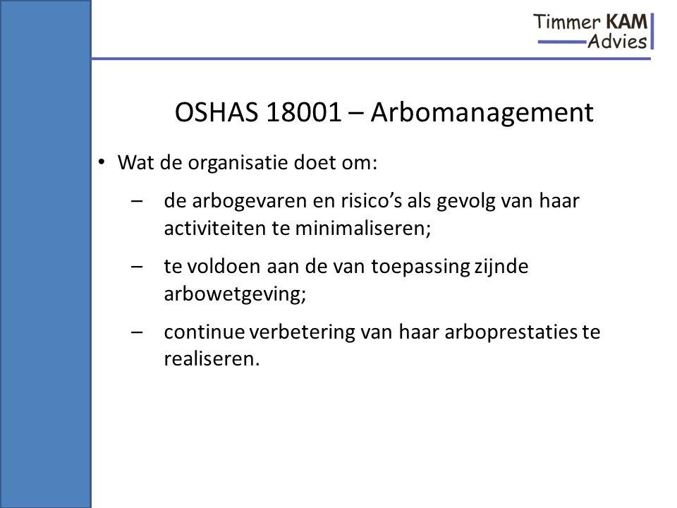 OSHAS 18001 – Arbomanagement Wat de organisatie doet om: –de arbogevaren en risico's als gevolg van haar activiteiten te minimaliseren; –te voldoen aa