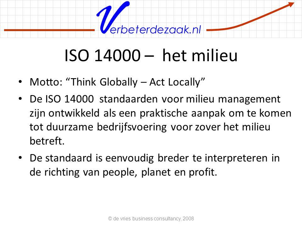 erbeterdezaak.nl ISO 14000 – het milieu Motto: Think Globally – Act Locally De ISO 14000 standaarden voor milieu management zijn ontwikkeld als een praktische aanpak om te komen tot duurzame bedrijfsvoering voor zover het milieu betreft.