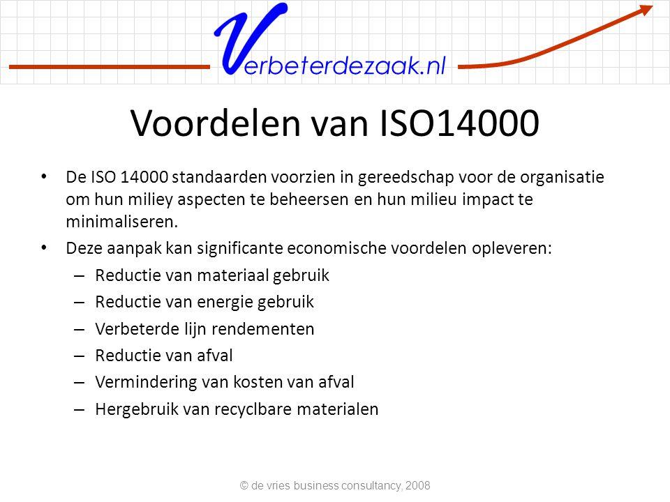 erbeterdezaak.nl De ISO 14000 familie ISO 14001 beschrijft de eisen te stellen aan het milieu management systeem van de organisatie (vaak afgekort als EMS – environmental management system) ISO 14010, 14011 en 14012 beschrijven de eisen te stellen aan milieu audits ISO 14031 vertelt hoe een organisatie haar milieu impact kan evalueren.
