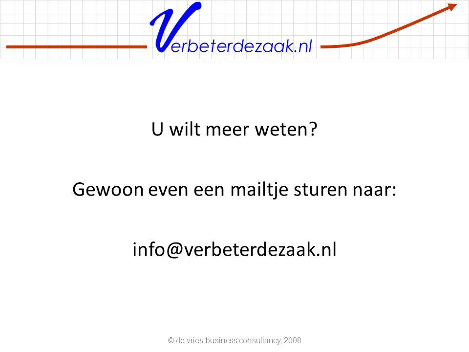 erbeterdezaak.nl U wilt meer weten? Gewoon even een mailtje sturen naar: info@verbeterdezaak.nl © de vries business consultancy, 2008