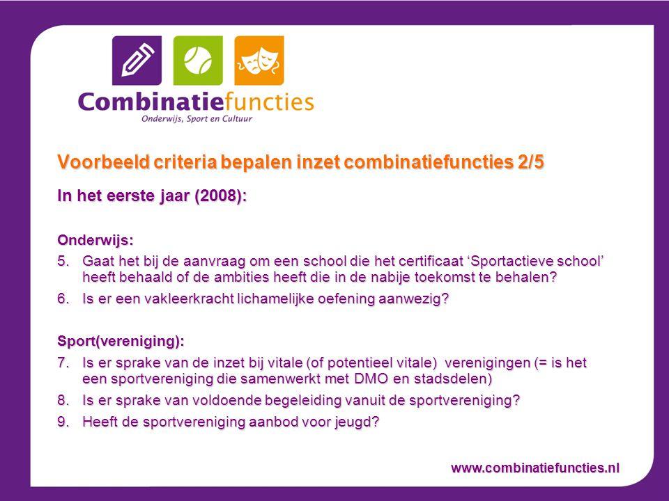 In het eerste jaar (2008): Onderwijs: 5.Gaat het bij de aanvraag om een school die het certificaat 'Sportactieve school' heeft behaald of de ambities heeft die in de nabije toekomst te behalen.