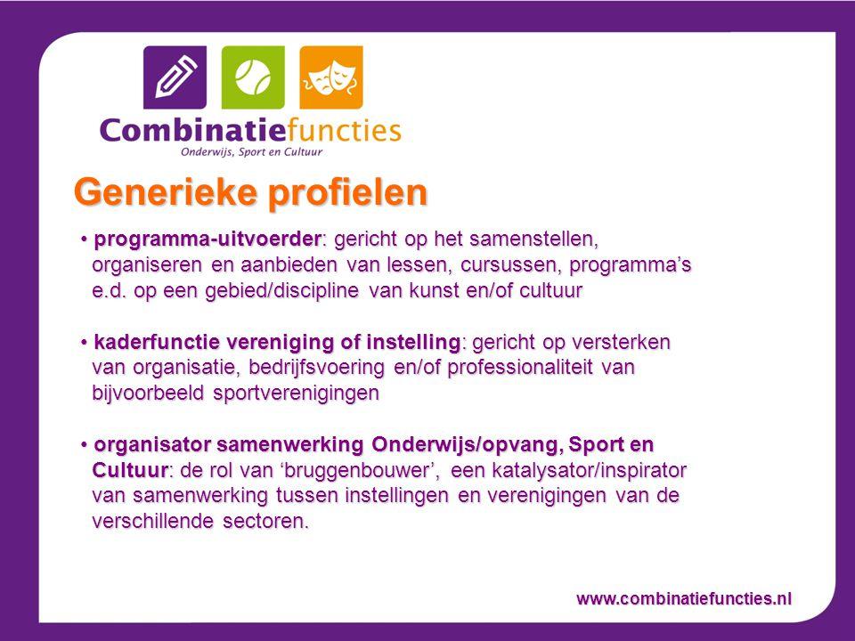 programma-uitvoerder: gericht op het samenstellen, organiseren en aanbieden van lessen, cursussen, programma's e.d.