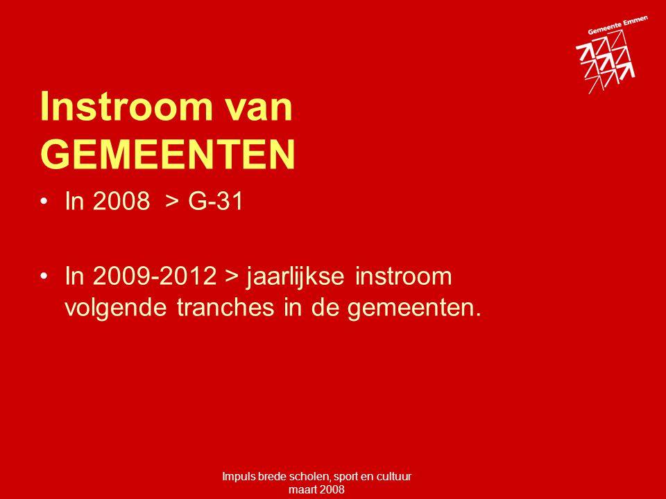 Impuls brede scholen, sport en cultuur maart 2008 Instroom van GEMEENTEN In 2008 > G-31 In 2009-2012 > jaarlijkse instroom volgende tranches in de gemeenten.