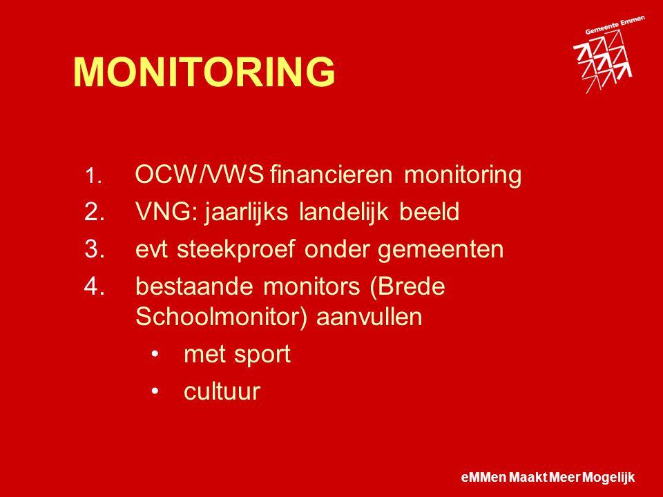eMMen Maakt Meer Mogelijk MONITORING  OCW/VWS financieren monitoring  VNG: jaarlijks landelijk beeld  evt steekproef onder gemeenten  bestaande monitors (Brede Schoolmonitor) aanvullen met sport cultuur