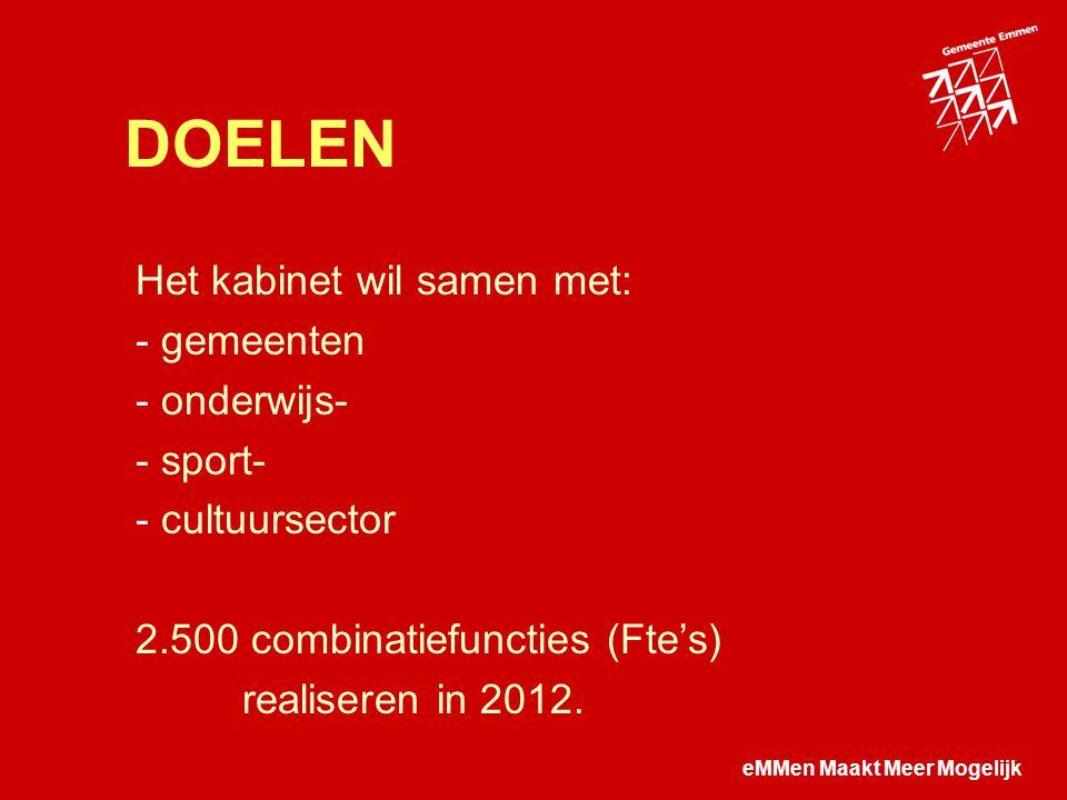 eMMen Maakt Meer Mogelijk DOELEN Het kabinet wil samen met: - gemeenten - onderwijs- - sport- - cultuursector 2.500 combinatiefuncties (Fte's) realiseren in 2012.