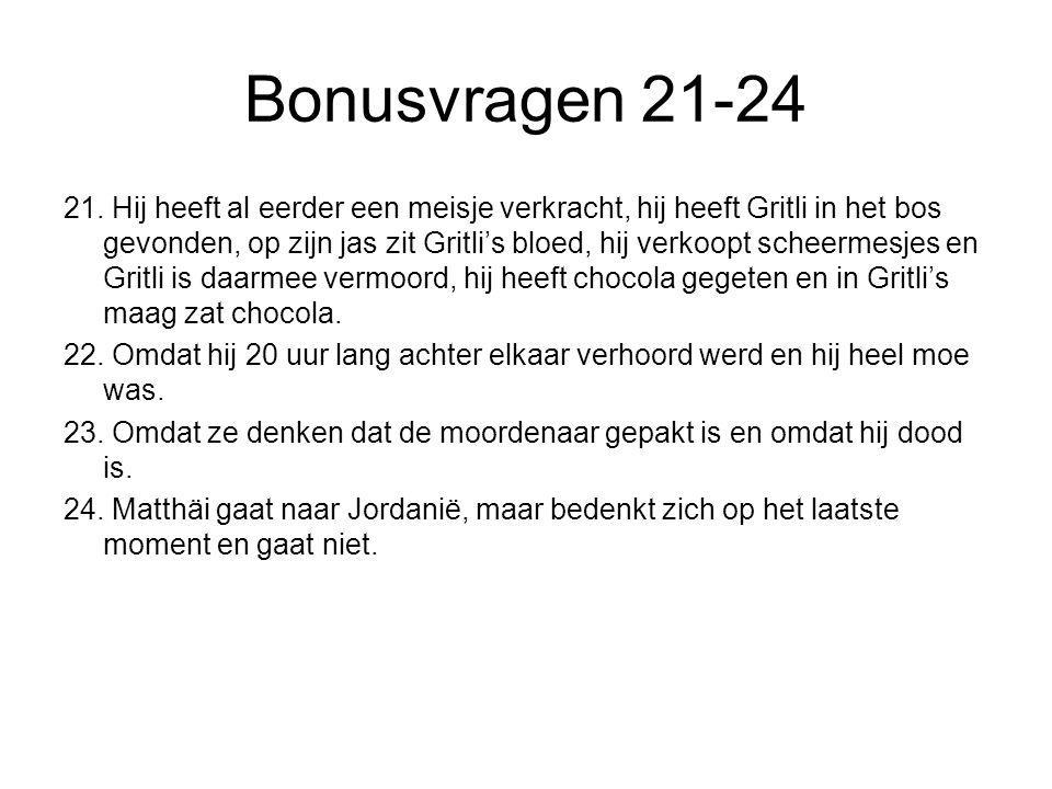 Bonusvragen 21-24 21. Hij heeft al eerder een meisje verkracht, hij heeft Gritli in het bos gevonden, op zijn jas zit Gritli's bloed, hij verkoopt sch
