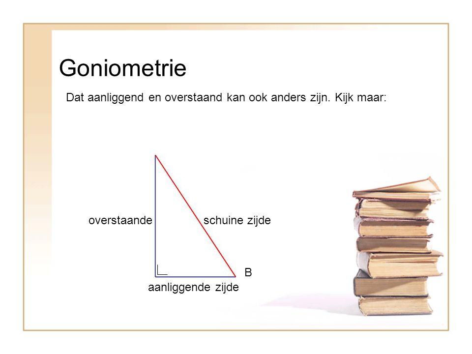 Goniometrie Dat aanliggend en overstaand kan ook anders zijn. Kijk maar: B overstaandeschuine zijde aanliggende zijde