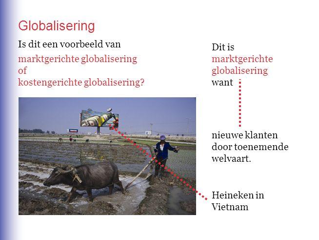 Globalisering Heineken in Vietnam Is dit een voorbeeld van marktgerichte globalisering of kostengerichte globalisering.