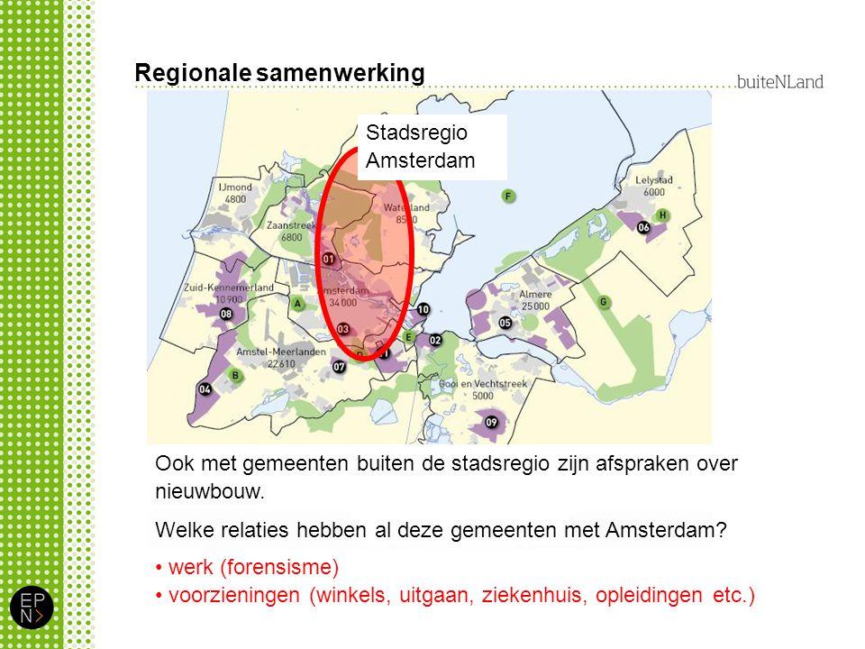 Regionale samenwerking Ook met gemeenten buiten de stadsregio zijn afspraken over nieuwbouw.