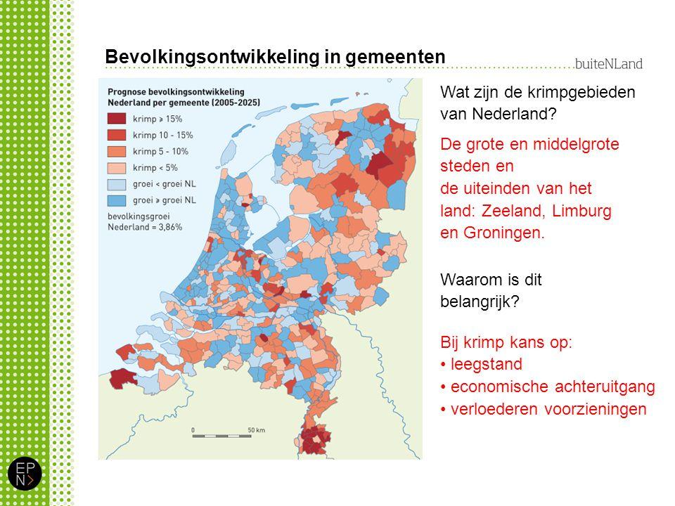 Bevolkingsontwikkeling in gemeenten Wat zijn de krimpgebieden van Nederland.