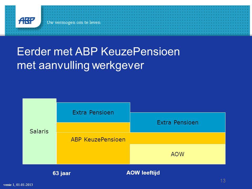 13 Eerder met ABP KeuzePensioen met aanvulling werkgever AOW leeftijd 63 jaar ABP KeuzePensioen Salaris AOW Extra Pensioen ABP KeuzePensioen versie 1,
