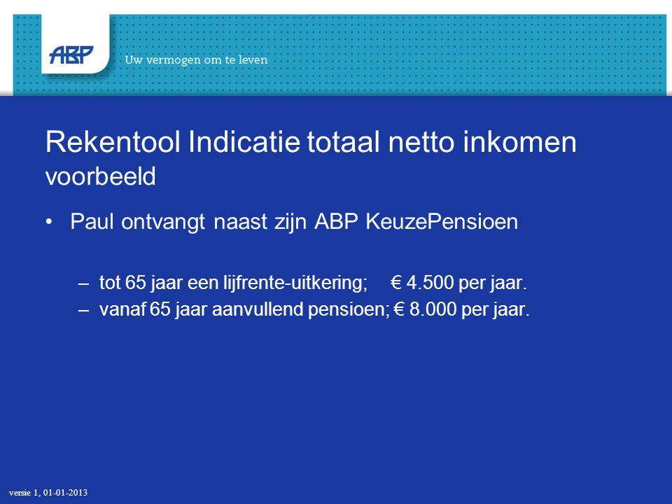 Rekentool Indicatie totaal netto inkomen voorbeeld Paul ontvangt naast zijn ABP KeuzePensioen –tot 65 jaar een lijfrente-uitkering; € 4.500 per jaar.