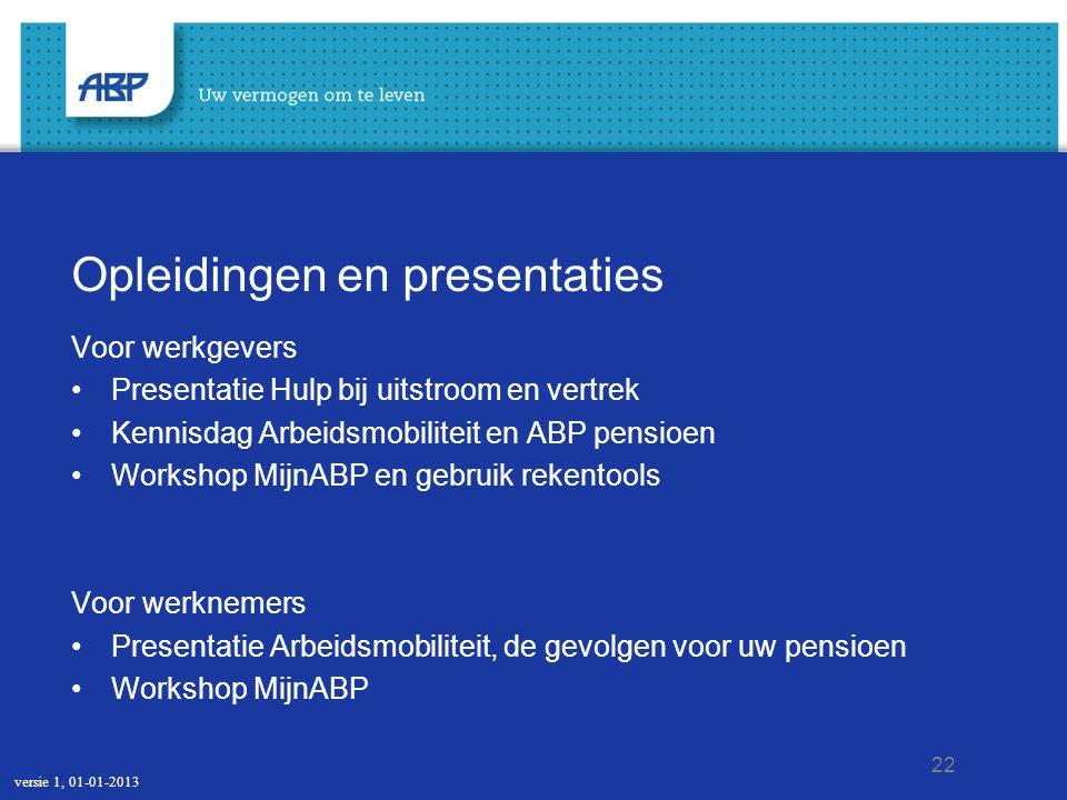 22 Opleidingen en presentaties Voor werkgevers Presentatie Hulp bij uitstroom en vertrek Kennisdag Arbeidsmobiliteit en ABP pensioen Workshop MijnABP