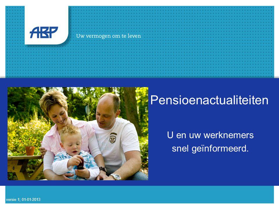 2 U en uw werknemer snel geïnformeerd Voor uw werknemer: –Informatie op ABP.nl –Zelf berekeningen maken met MijnABP –Overzicht alle pensioenen op mijnpensioenoverzicht.nl Voor u als werkgever: –Abp.nl/werkgever versie 1; 01-01-2013
